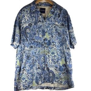 Tommy Bahama Blue Floral Paisley Silk Button Up XL